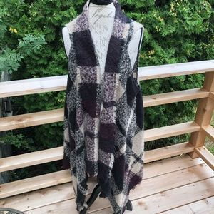 Lane Bryant open front plaid blanket sweater